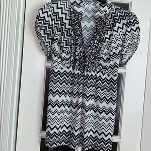 HALO Ladies Ruffle Front Black and White Blouse